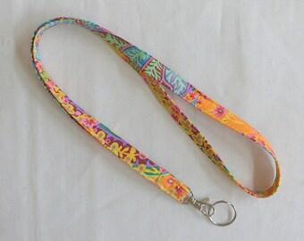 Lanyard ID Badge Holder Key Ring Lanyard Kaffe Fassett Fabric Lanyard Handmade ID Holder Teacher Gift Medical Staff Gift Idea Gift for Her