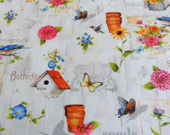 Garden Fabric Bird Houses / Flowers / Birds / Butterflies Fabric Adalee's Flower Garden Red Rooster Fabric Sewiing Supply Quilting Supply