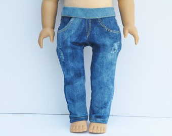 18 inch Doll Clothes - Skinny Jeans, Skinnies, Destructed, Medium Bleached Denim, Pants, AG Doll