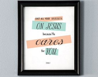 Cast Your Burdens Printable Wall Art Bible Verse Scripture Poster