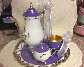 Antique silver plated tea set/Custom Painted