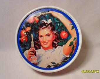 Vintage Pepsi Cola Olive Can 1994 Round Metal Tin
