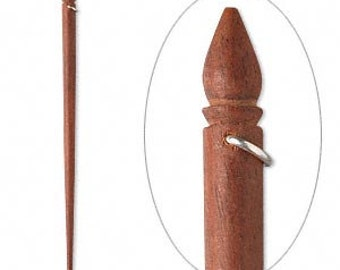 Extra Long Rosewood Hair Sticks w/Sterling Silver Loops for Embellishing - 8 inches long - Set of 4