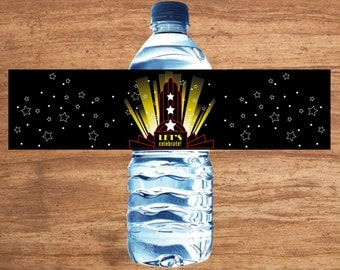 Instant Download Movie Party Water Bottle Labels