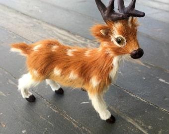 Deer figurine, fur animal, kitschy deer, cute deer figurine, vintage deer