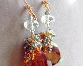 VALENTINES DAY SALE Madeira Citrine Green Amethyst Hessonite Garnet Green Quartz Fancy Cut Trillion Gemstone Earrings