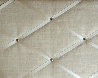 "Pin Board/Notice Board ""Ivory Linen Fabric with Chrome Trim"" Message, Memo, Bulletin Board, 48 x 29cm /18 x 12"" Hangs Landscape"