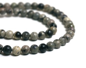 Silver Leaf Jasper beads, 6mm round natural gemstone, full & half strands available  (572S)