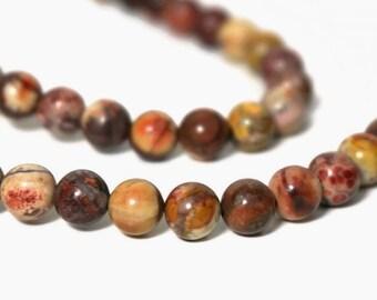 Birdseye Rhyolite beads, 6mm round natural gemstone, full & half strands (933S)