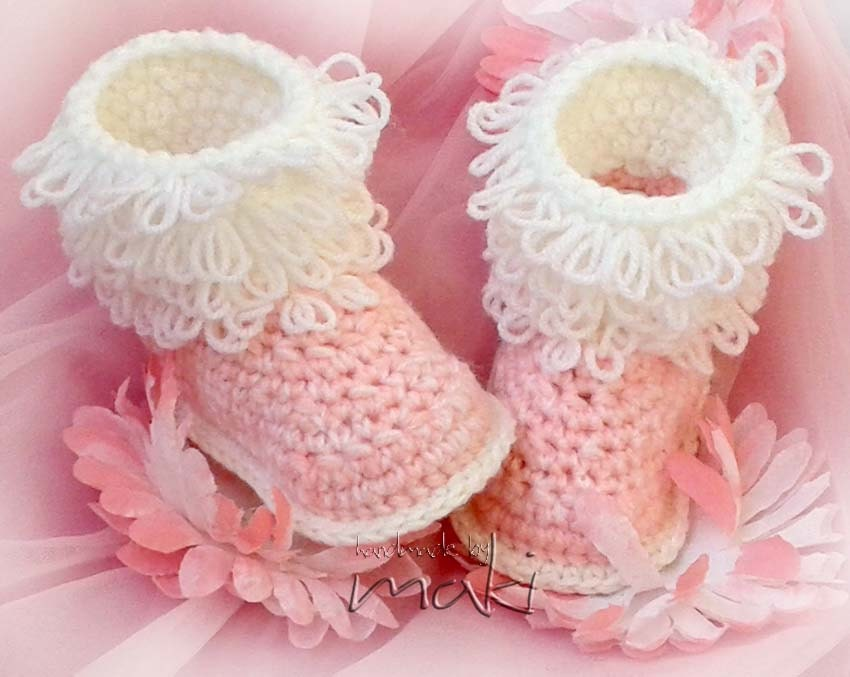Crochet Patterns Loop Stitch : Fluffy baby boots crochet pattern Loop stitch by MakiCrochet
