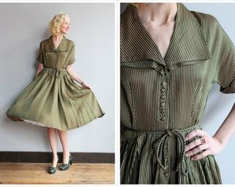 1950s Dress // Evergreen Striped Dress // vintage 50s dress