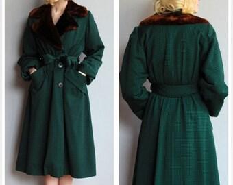 Sale 1940s Coat // Houndstooth Winter Coat // vintage 40s coat