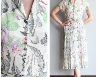 1940s Dress // Summer in Chicago Dress // vintage 40s silk dress