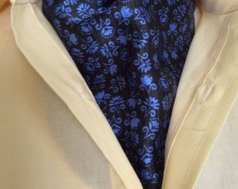 Ascot, Tie, Cravat. silky charmeuse.  Blue design on black.