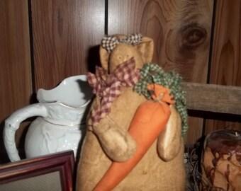 Primitive Hand Made Bunny Carrot Flowers  Homespun
