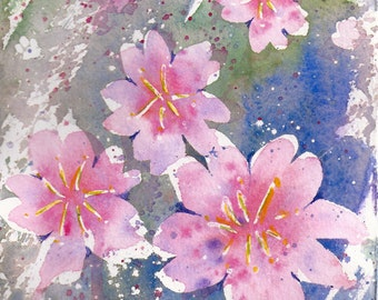 Small Format Cherry Blossoms- 5.5x7.5inches original watercolor painting