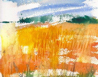 Small format golden Field- 5.5x7.5inches original watercolor painting