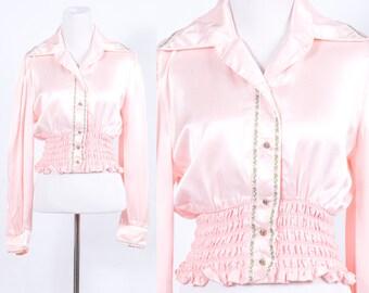 Vintage 1970s Pink Boho Long Sleeve Crop Top * Festival Bohemian Cropped Blouse Smocked * Size Medium Large * FREE SHIPPING