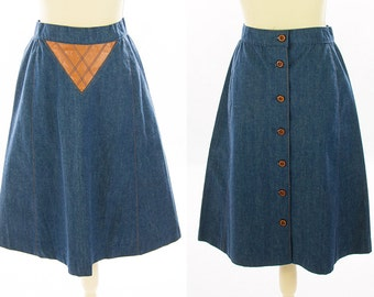 Blue Denim & Quilted Tan Camel Leather Triangle Patch Knee Length Skirt w/ Wooden buttons down the back