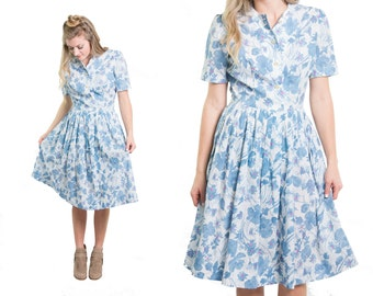 Vintage 1960s Blue Pink Floral Print Crepe Day Dress 60s Pleated Skirt Shirtdress * Size Medium * FREE SHIPPING