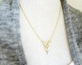 Triangle Necklace. Gold Triangle. Small Triangle Pendant. Minimal Jewelry. Modern Arrow Head Charm. Chevron Pennant. Geometric Jewelry