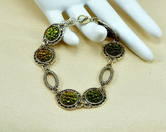 Topaz Iridis - Bumpy Top - Silver - Cabochon Bracelet