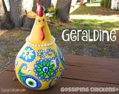 chickens, gourd art, gourd, paisley, painted gourds, hen, rooster, yellow, green, white, blue, decoration