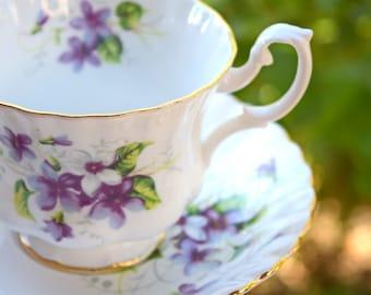 Teacup and saucer violets Royal Albert England bone china vintage tea party