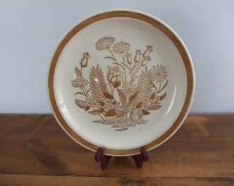 Jamestown China Ironstone Floral Brown and White Dinner Plate