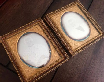 Double 1/6 Daguerreotype Set of a Man and his Wife / Matching & Sealed