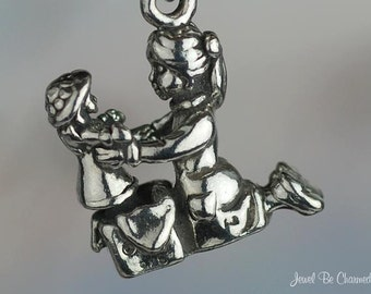 Sterling Silver Little Girl with Doll Charm Present Gift 3D Solid .925