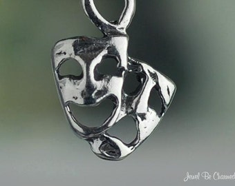 Sterling Silver Comedy and Tragedy Masks Charm Drama Theater Tiny .925