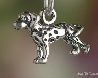 Miniature Sterling Silver Dalmatian Charm Dog Small Tiny 3D Solid .925