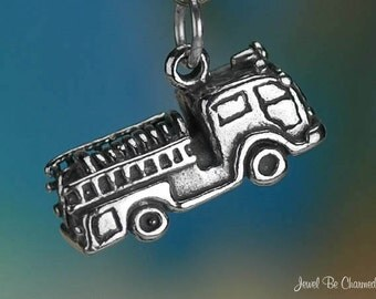 Sterling Silver Fire Truck Charm Firefighter Department 3D Solid .925