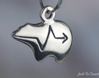 Sterling Silver Miniature Heartline Zuni Bear Charm Fetish Bears .925