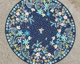 "30"" round, Hummingbird and dragonfly garden mosaic table. Handmade flower frog snail mosaic art tiles."