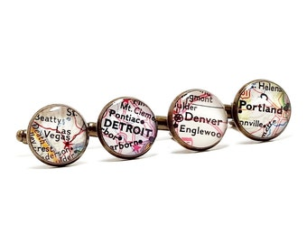 CUSTOM Vintage Map Cufflinks. You Pick Two Cities Worldwide. City Location Cufflinks. Boss's Day Gifts. Father's Day Gifts. Christmas gift.