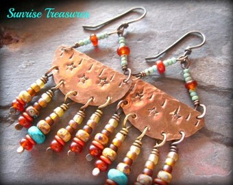 Star Stamped Copper Earrings, Handforged Rustic Earthy Hammered Southwest Earrings, Natural Turquoise Earrings, Tribal Metalwork