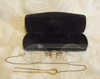 Antique Victorian Pince Nez Eyeglasses Spectacles 12K Gold Filled 1800s G.F. SHUR-ON Ladies Glasses With Hairpin