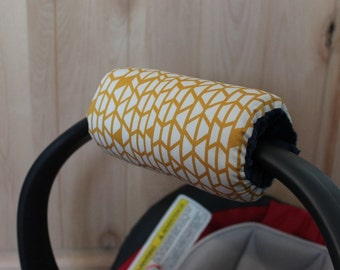 padded handle cover, car seat handle cover with navy minky dot back- Ships today