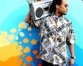 Vintage Abstract Print Rayon Shirt, 90s Short Sleeved PURITAN Mens Button Up Shirt, De La Soul Tribe Called Quest Hip Hop, XL