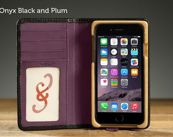 The Little Pocket Book Case for iPhone 7 - Onyx Black and Plum