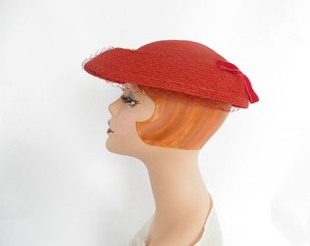 1950s red hat, vintage toque with veil