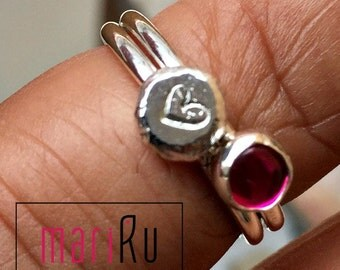 Ruby and HandStamped Heart Sterling Silver Stacking Rings