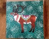 Reuben Reindeer | Square Greeting / Christmas Card / blank inside