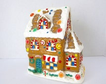 Gingerbread House Christmas Candle Vintage Christmas Hansel and Gretel Christmas Kitsch Large Candle Christmas Decor Childrens Christmas J32