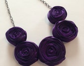 BLACK FRIDAY SALE Plum Rosette Necklace | Dark Purple Statement Necklace