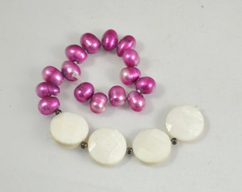 """15beads 6""""  Purple Freshwater pearl Shell Mop Cultured Pearl Gemstone Beads  ,   Real pearl strand, loose pearl beads"""