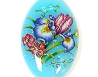 LAST ONE Lovely Japanese Tensha Focal Bead Iris on Aqua