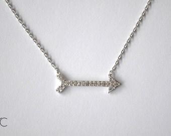 Silver sideways arrow Necklace